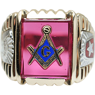 Mens 4.43CTW Synthetic Ruby & Enamel Masonic Ring 10k Yellow & White Gold