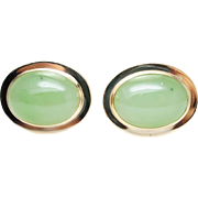 Vintage Green Garnet Cufflinks Cabochon Cut 14K Yellow Gold