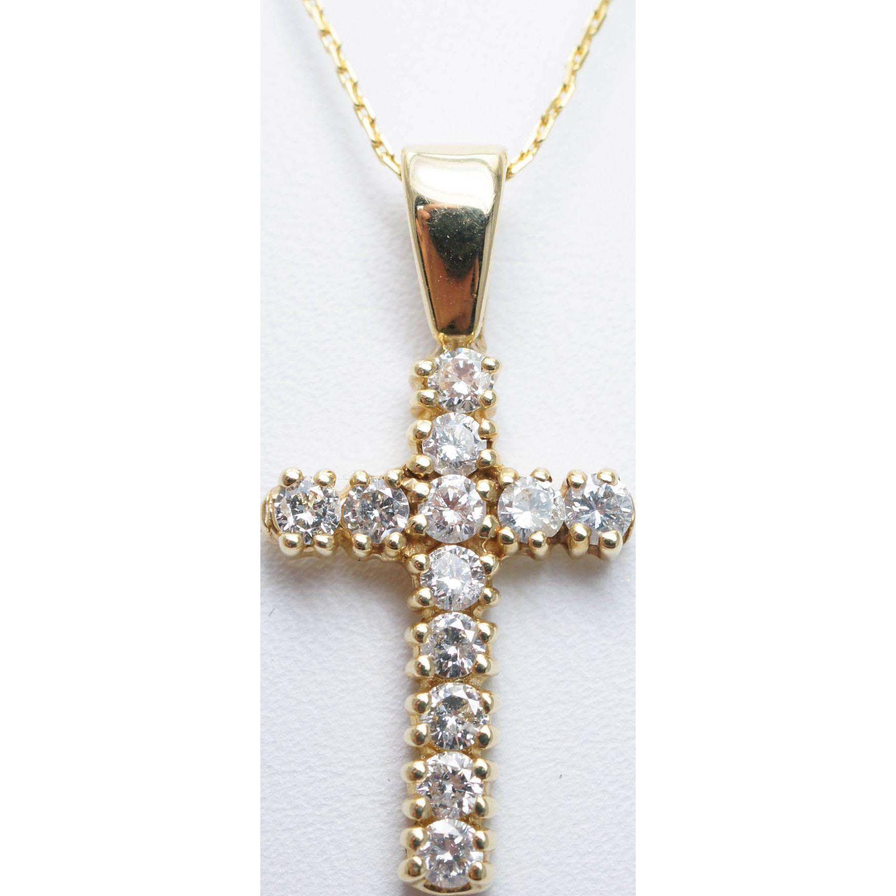 .96CTW Diamond Cross Pendant Necklace in 14k Yellow Gold