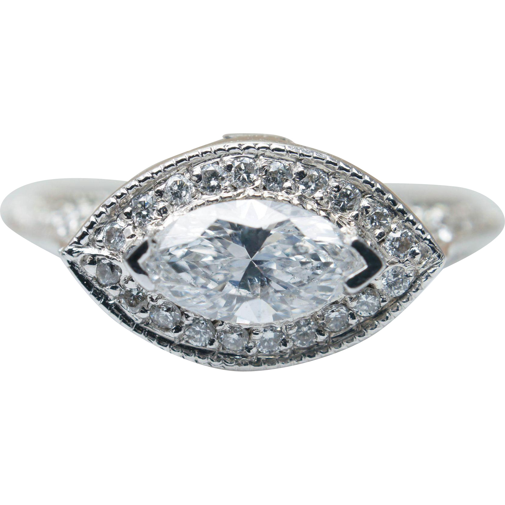 1.09ctw East West Marquise Diamond Engagement Ring in 18k White Gold
