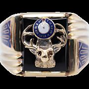 Vintage Mens Onyx & Enamel Elks Lodge Brotherhood Ring in 10k Yellow Gold
