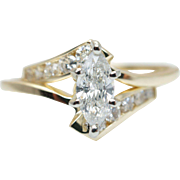 Vintage .77CTW Marquise Cut Diamond Engagement Ring & Wedding Band Set