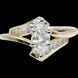 Vintage .77CTW Marquise Cut Diamond Engagement Ring & Wedding Band Set