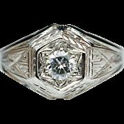 Vintage Art Deco .31ct Diamond Cocktail Engagement Ring 18k White Gold
