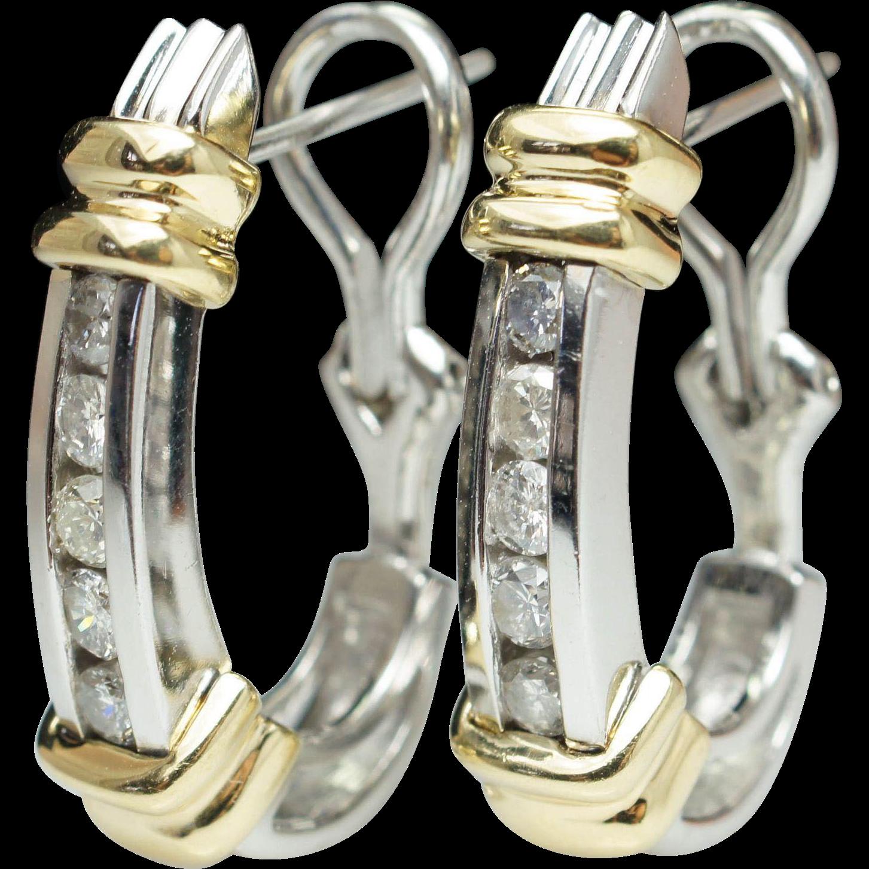 Vintage 14k White & Yellow Gold Natural Diamond Huggie Hoop Earrings