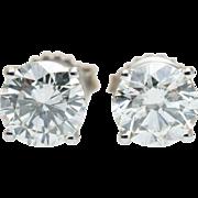 2CT Natural Diamond Stud Earrings in 14k White Gold Large Diamond Studs