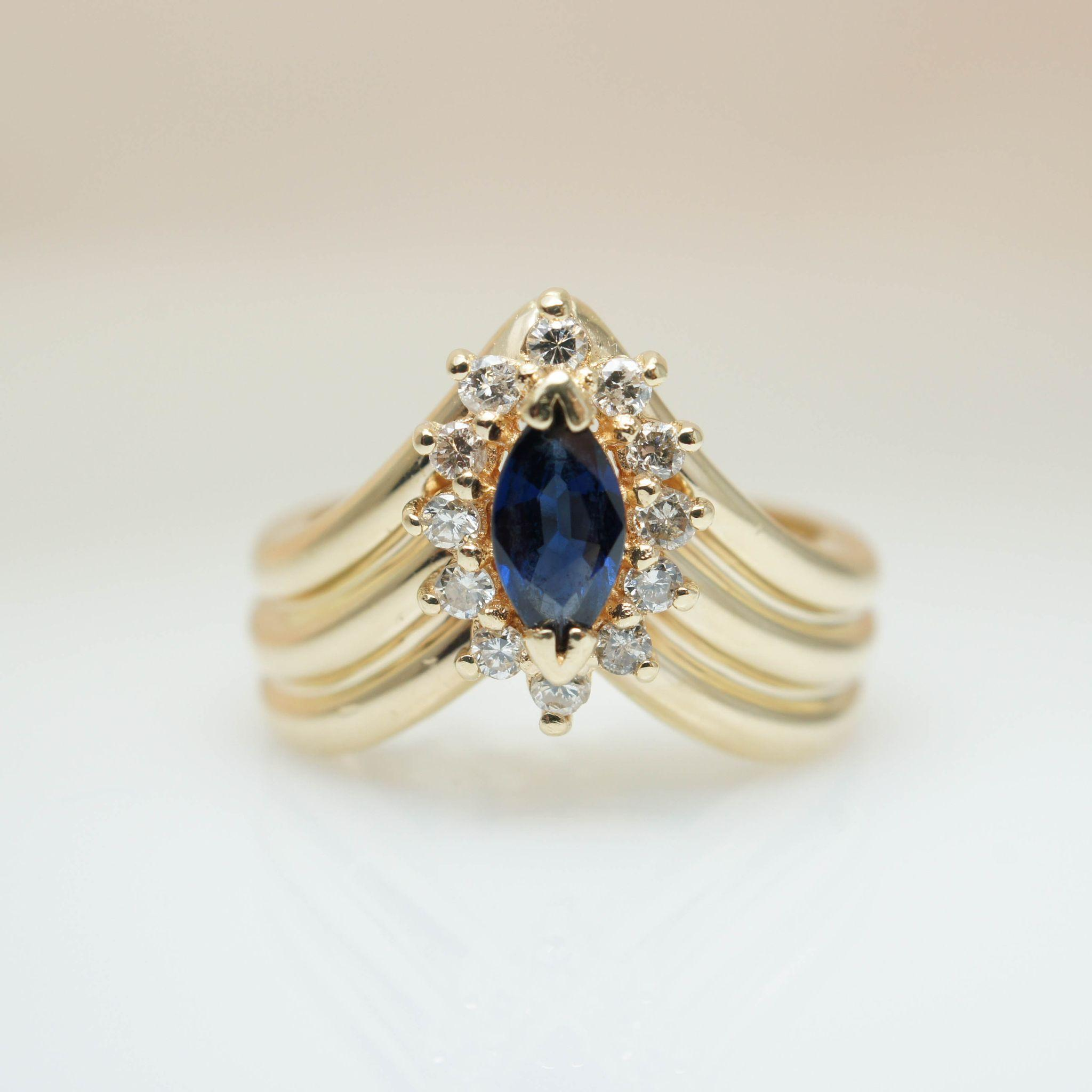 Vintage Sapphire & Diamond Solitaire Ring Yellow Gold Vintage