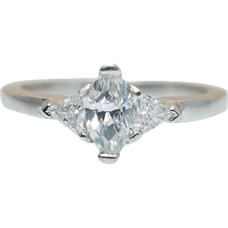 .55CTW Dainty Marquise Cut Diamond Engagement Ring with Triangle Cut Diamond Accents in 14K White Gold Custom