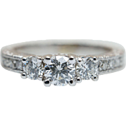 0.742CTW Vintage Diamond Engagement Ring White Gold 14K Natural Diamond Ring