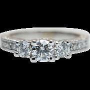 0.742CTW Vintage Diamond Engagement Ring White Gold 14K Natural Diamond Ring