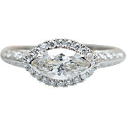 .90CTW East West Marquise Diamond Engagement Ring 14k White Gold