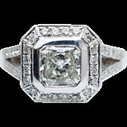 1.28CTW Radiant Cut Diamond Halo Engagement Ring 18k White Gold