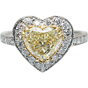 1.63CTW Fancy Yellow Heart Shape Diamond Halo Engagement Ring 18k White Gold