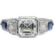 Asscher Cut Diamond & Sapphire Accent Engagement Ring 18k White Gold