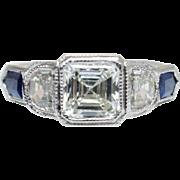 Asscher Cut Diamond & Sapphire Accent Engagement Ring 18k White Gold