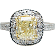 2.33CTW Cushion Cut Fancy Yellow Diamond Halo Engagement Ring 18k White Gold