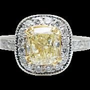 2.33CTW Cushion Cut Fancy Yellow Diamond Halo Engagement Ring 18k White Gold