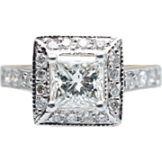 GIA Princess Cut Diamond Halo Engagement Ring 18k White & Yellow Gold Accent