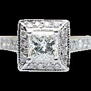 GIA Princess Cut Diamond Halo Engagement Ring 18k White & Yellow Gold Accent