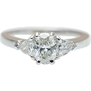 .77CTW Oval & Triangle Diamond Three Stone Engagement Ring in 14K White Gold