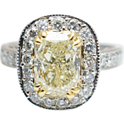 2.24CTW Fancy Yellow Cushion Cut Diamond Halo Engagement Ring 18k White Gold