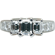 Elegant VS Emerald Cut 3 Stone Engagement Ring in 18k White Gold