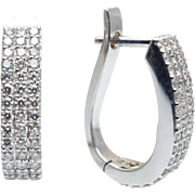 .90CTW Diamond Huggie Hoop Earrings in 14k White Gold