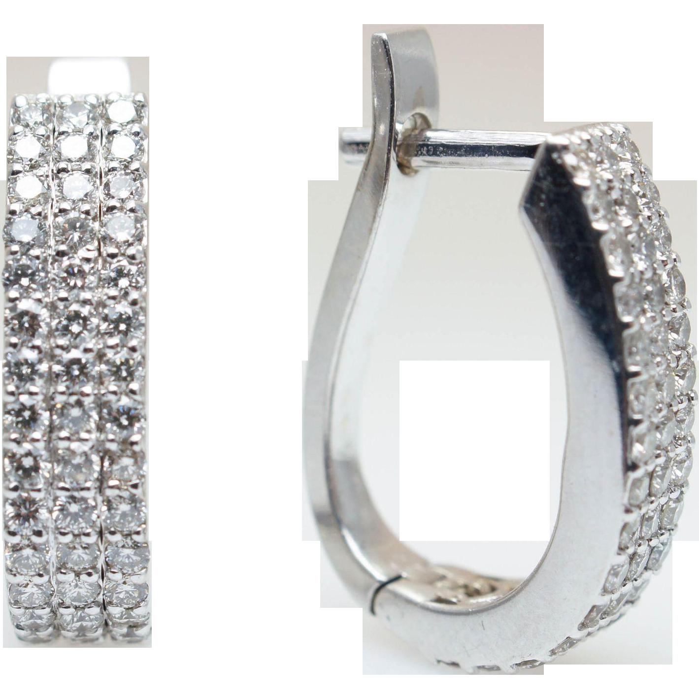 .90CTW Diamond Huggie Hoop Earrings in 14k White Gold