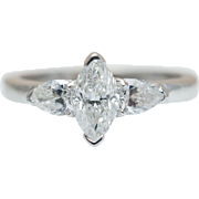 1.02CTW Marquise Cut Diamond Engagement Ring with Pear Shape Accents 14k White Gold
