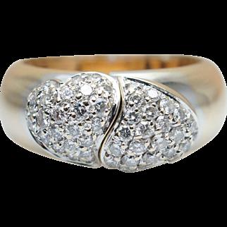 Custom Diamond Hinge Ring White and Yellow 18K Gold Heart Shape Ring