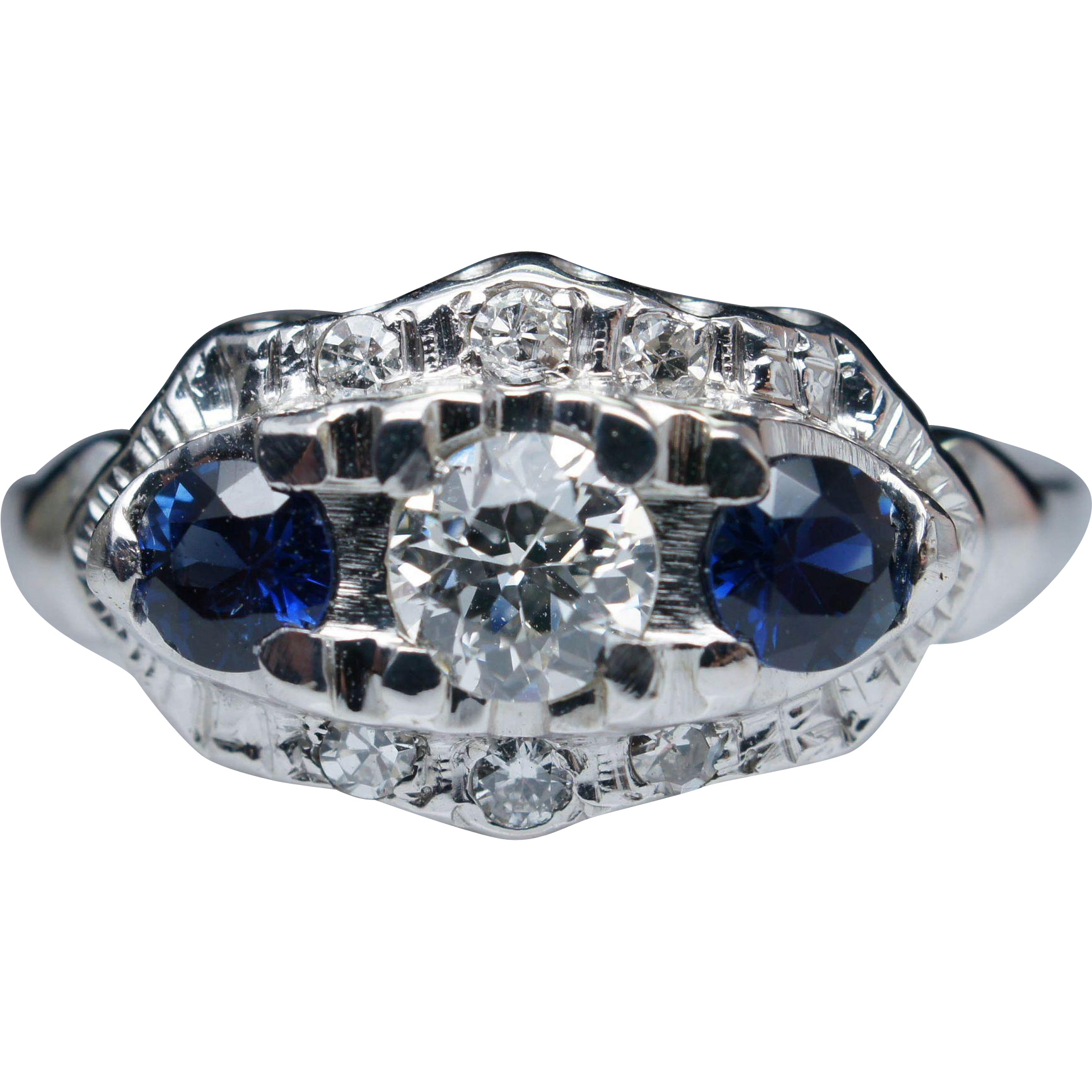 vintage edwardian sapphire engagement ring 18k