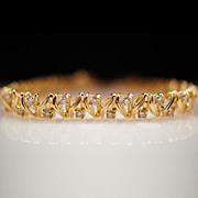 Vintage 14K yellow gold Cast & Assembled Diamond Bracelet