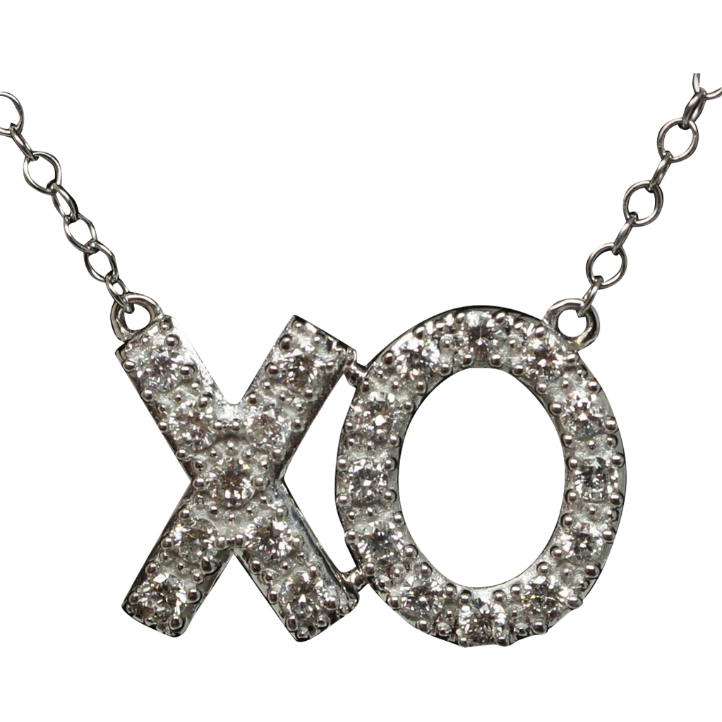 Diamond XO Love Pendant Necklace 14k White Gold