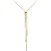 Diamond Dangle Pendant Gold Tassel Lariat Necklace in 14k Yellow Gold