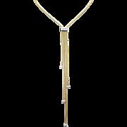 Diamond Dangle Pendant Gold Tassel Lariat Necklace in 14k Yellow Gold