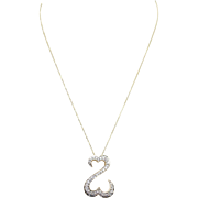 Unique Diamond Double Story Heart Pendant Necklace in 14k Yellow Gold Diamond Heart Jewelry
