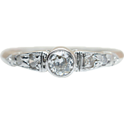 Vintage Art Deco .28CTW Diamond Promise Ring Engagement Band in 14k White Gold with Old European Cut Stones