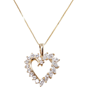 Vintage .94CTW Diamond Open Heart Pendant 14k Yellow Gold
