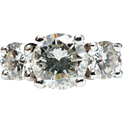 Vintage 1.29 cttw Three Stone Diamond Engagement Ring - 14k White Gold - Size 6.75