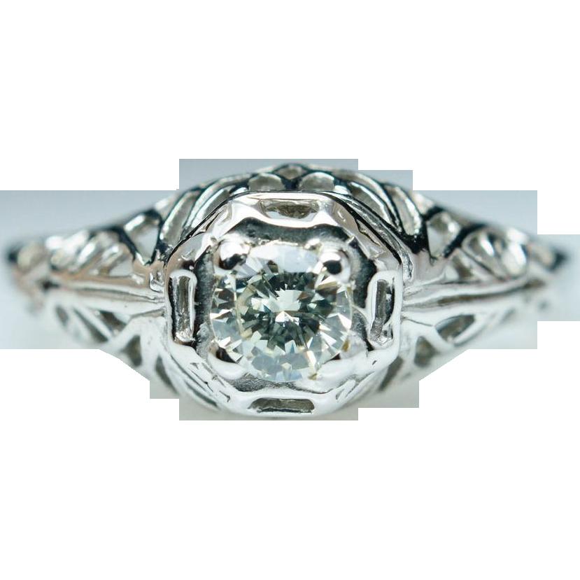 Vintage Art Deco Diamond Engagement Ring 18k White Gold Old European Cut