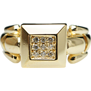 Vintage Estate Diamond Square Block 18k Yellow Gold Ring - Size 6