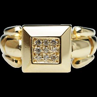Vintage Estate Diamond Square Block 18k Yellow Gold Ring - Size 6