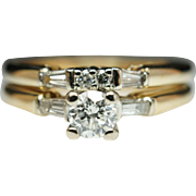 Yellow Gold Vintage Diamond Bridal Set Engagement Ring & Wedding Band
