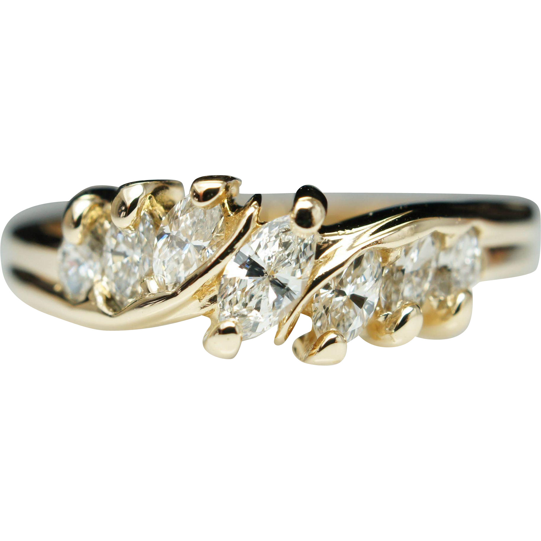 Vintage Marquise Cut Diamond Engagement Band Ring 14k Yellow Gold from jkjc o