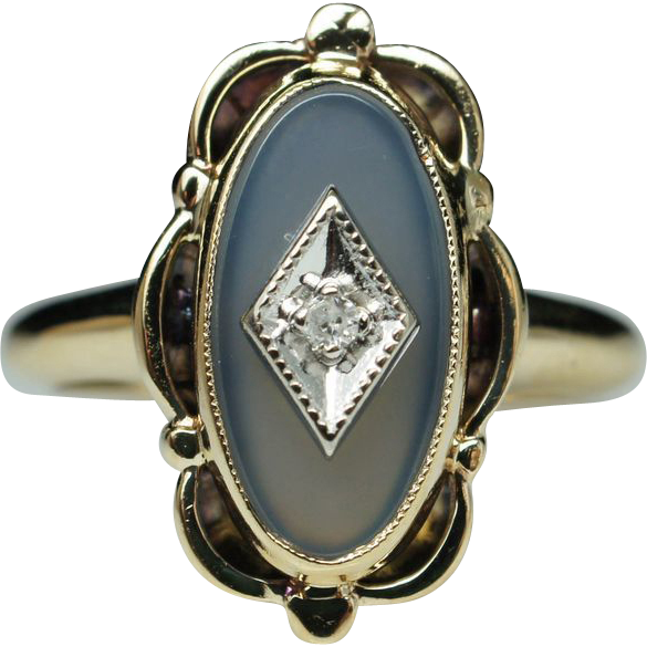 Antique Late Edwardian Style Diamond & Blue Chalcedony Ring 10k Yellow Gold