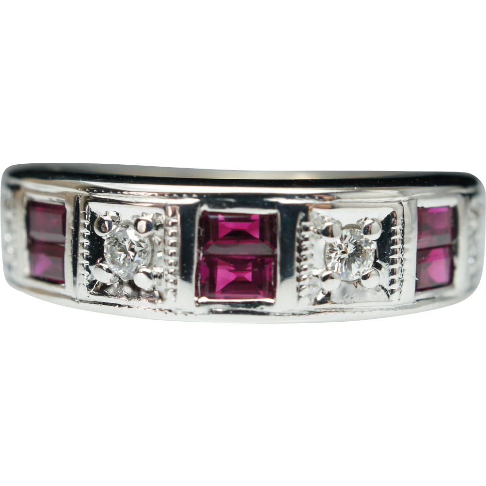 Vintage .63ctw Ruby & Diamond Wide Wedding Band Ring - Size 5.75 - 14k White Gold