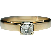Vintage Solitaire .28ct Princess Cut Diamond Engagement Ring 14k Yellow Gold