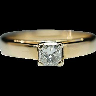 Vintage Solitaire .28ct Princess Cut Diamond Engagement Ring 14k Yellow Gold
