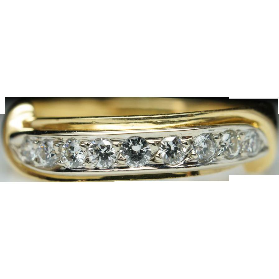 Vintage .27ct Round Diamond Ribbon Wedding Band Ring - Size 7