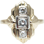 Art Deco Style Old European Cut Diamond Cocktail Ring 14k Yellow Gold